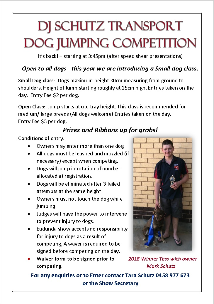 DJ Schutz Transport Dog Jumping Competition - Eudunda Show 2019 Flier