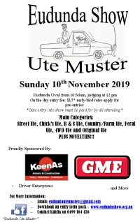 Eudunda Ute Muster Entry Form & Info Available