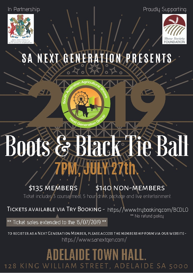 SA next Gen 2019 Boots & Black Tie Ball 27th July
